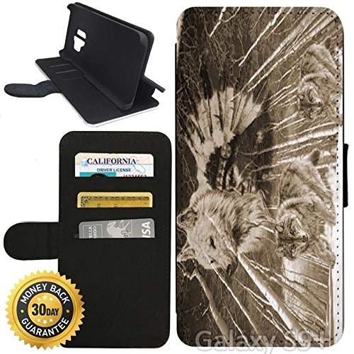 Flip Wallet Case for Galaxy S9 Plus (Wolves Wolf Native American) with Adjustable Stand and 3 Card Holders | Shock Protection | Lightweight | Includes Stylus Pen by Innosub