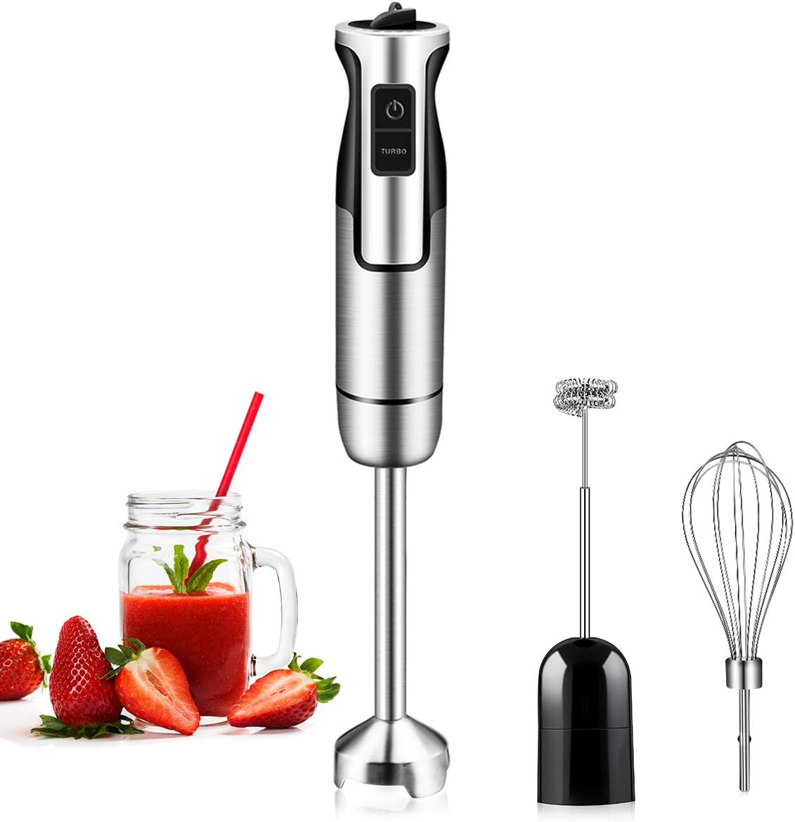REDMOND Immersion Hand Blender, 3-in-1 8-Speed Stick Blender with Milk Frother, Egg Whisk for Smoothies, Coffee Milk Foam, Puree Baby Food, Sauces and Soups, HB004