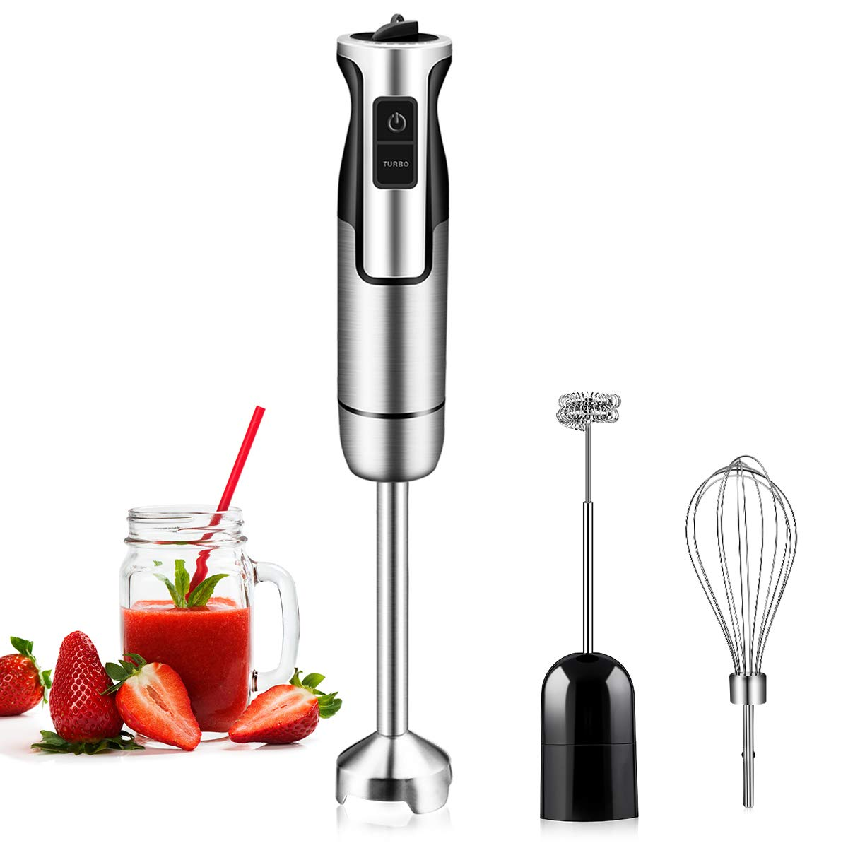 REDMOND Immersion Hand Blender, 3-in-1 8-Speed Stick Blender with Milk Frother, Egg Whisk for Smoothies, Coffee Milk Foam, Puree Baby Food, Sauces and Soups, HB004SSUSRD