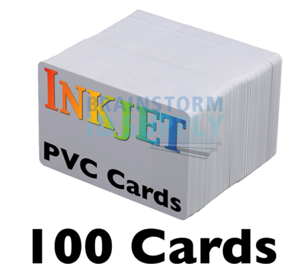 Inkjet PVC Cards (100 Pack) - Inkjet Printable PVC ID Cards with Brainstorm ID's Enhanced Ink Receptive Coating - Waterproof and Double Sided Printing - Works with Epson and Canon Inkjet Printers by Brainstorm ID (Image #1)