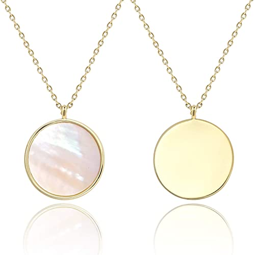 a4a08e490 COZLANE 14k Gold Mother of Pearl Shell Round Pendant Double Sided Necklace  for Valentine's Day