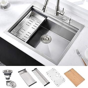 Amazon Com Hosino 25 Inch 16 Gauge Double Ledge Workstation Drop In Kitchen Sink Topmount Rv Sink 304 Stainless Steel Single Bowl Kitchen Prep Sink Entertainment Bar Sink With Accessories Home Improvement