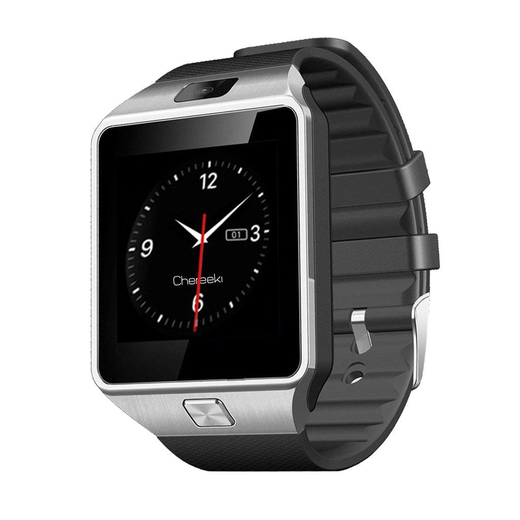 CHEREEKI Pantalla táctil con Bluetooth SmartWatch de 1.56 pulgadas, reloj Smart Watch con SIM y 32G TF con podómetro y cámara para teléfonos inteligentes Android Samsung Note 8 LG Sony HTC Sony Huawei