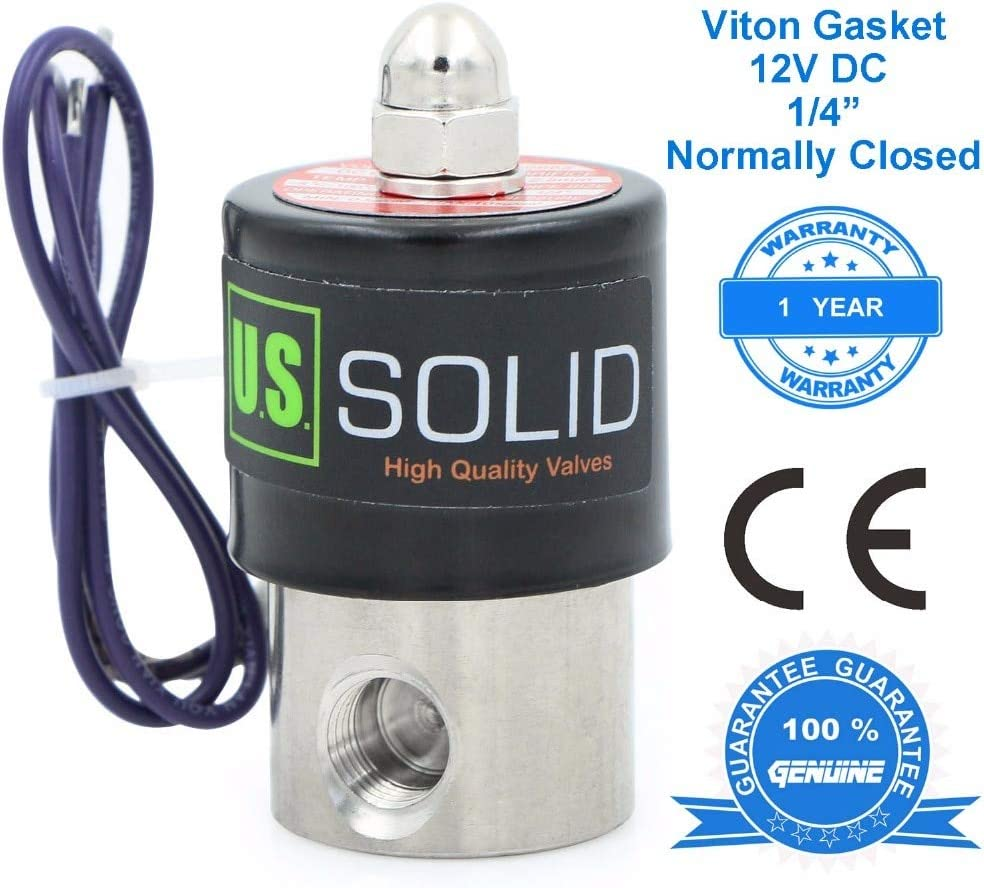 Air Diesel Davitu Valve U.S CE Certified - Solid 1//4 Stainless Steel Electric Solenoid Valve 12 V DC Normally Closed Water Thread Type: NPT