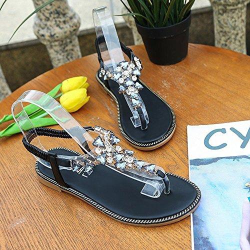 Clip Femmes Tongs Sandales Chaussures Sandale De pour Romaine Black Toe Tongs SHANLY Pantoufles sur Glisser Été Plage Bohême Piscine qwXdnxz