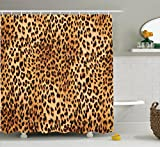 Ambesonne Animal Print Collection, Wild Animal Leopard Skin Pattern Wildlife Inspired Stylish Modern Illustration, Polyester Fabric Bathroom Shower Curtain Set with Hooks, Brown Beige