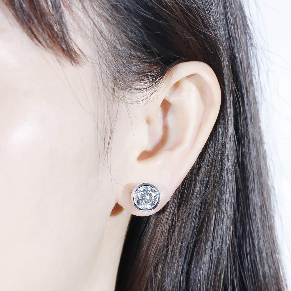 DovEggs 14K White Gold Post 4ct 8mm Grey Tinted Moissanite Stud Earring Bezel Set Earring Platinum Plated Silver Push Back for Women Men