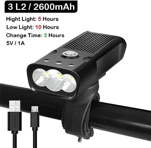 SHLYXY Luces de Bicicleta, Linterna de 5200 mAh para Bicicleta Luz ...
