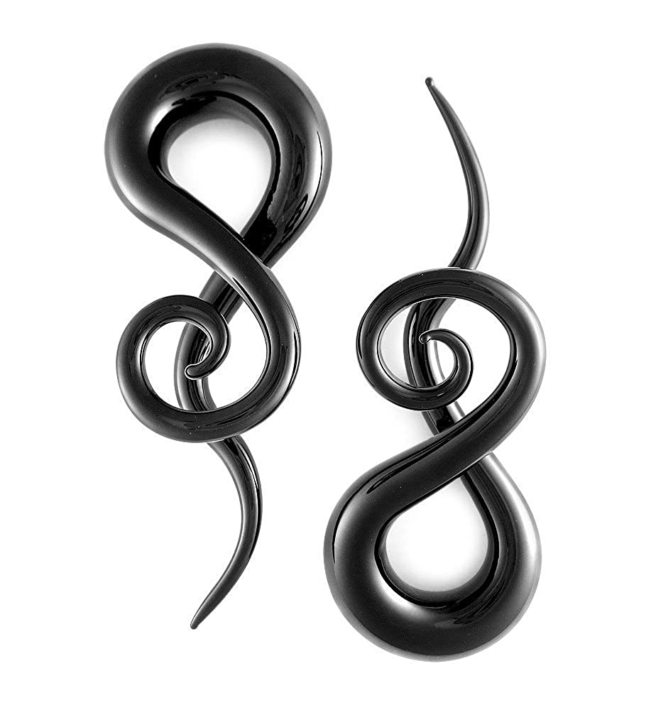 Pair Black Curls and Loops Glass Hanger 13mm 1//2