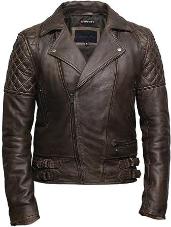 Brandslock Mens Genuine Leather Biker Jacket Slim Fit Retro Brando