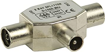 Distribuidor de antena coaxial macho – 2 x Coaxial hembra metal digital de 2 distribuidor cable coaxial SAT Antena de TV Distribución de Splitter HDTV ...
