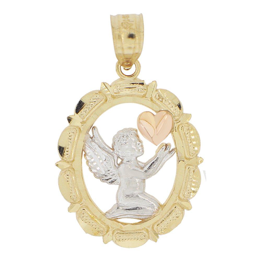 14k Tricolor Gold, Angel Mini Heart Pendant Charm Oval Medal