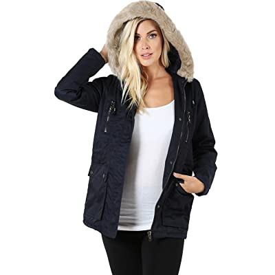 2LUV Women's Fur Hooded Utility Jacket With Zipper and Lining
