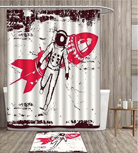 Vintage Shower Curtain Waterproof Retro Space Travel Astronaut over Planet Earth Original Solar Futuristic Art Fabric Bathroom Decor Set with Hook 36x72 inch Hot Pink Maroon gift bath rug by smllmoonDecor