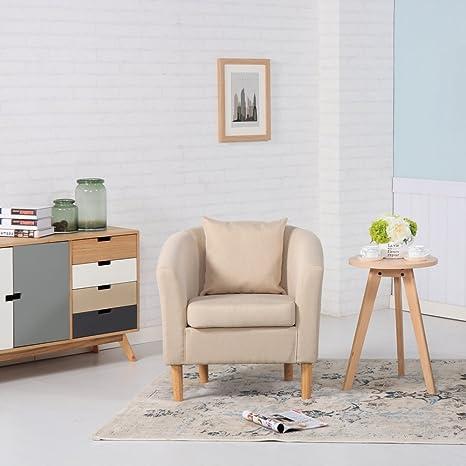Poltrona in tessuto di lino di alta qualità per soggiorno, ufficio ...