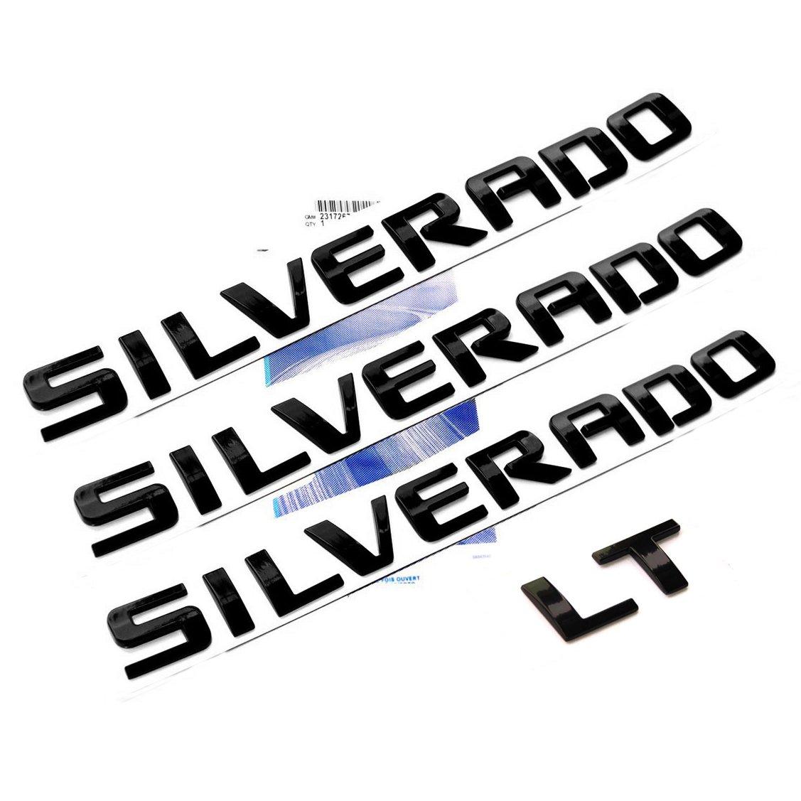 Yoaoo 3x OEM Black Silverado Plus Lt Nameplate Letter Emblems 3D Badge for Silverado 1500 2500Hd 3500Hd Original Silverado Glossy Black