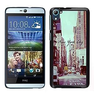 Nueva York Vignette Calle Sepia - Metal de aluminio y de plástico duro Caja del teléfono - Negro - HTC Desire D826