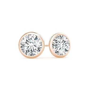 813ca40f3 Amazon.com: Martini Setting Bezel Set Lab Grown Diamond Stud Earrings in  14K Rose Gold: Jewelry