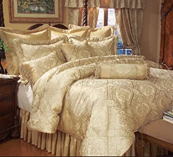 9 Piece King Gold Imperial Comforter Set