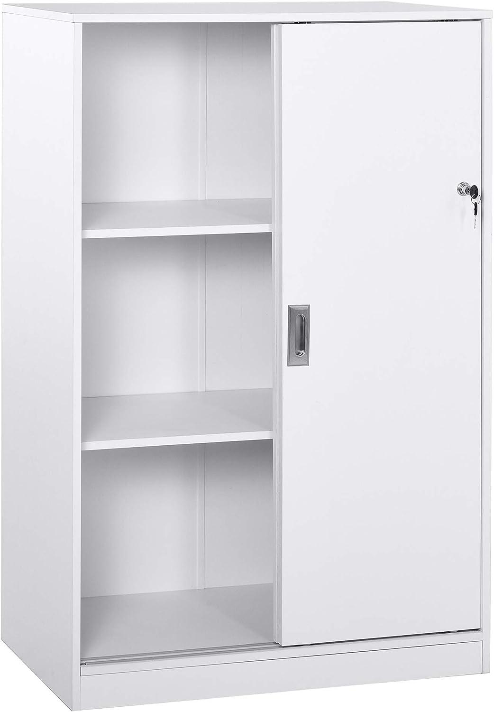 HOMCOM Armario de Oficina Práctico con 2 Puertas Correderas Bloqueables y 3 Estantes para Despacho Estudio 80x40x120 cm Blanco