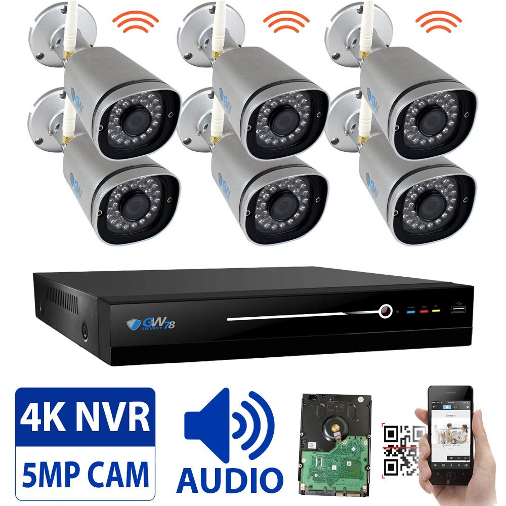 GW 8 Channel 5MP 1920P H.265 Wireless WiFi Security Camera System (NVR Kit) - 6 x HD 1920P Video & Audio Surveillance Outdoor/Indoor Wireless IP Cameras Built-in Microphone, 100FT IR Night Vision by GW Security