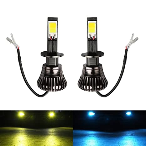 H1 LED Fog Light Bulb H1 Fog Bulbs Yellow 3000K Ice Blue 8000K Dual Colors  Car Gold Lamps Trucks 12V 30W Replacement Accessories Modification Bright