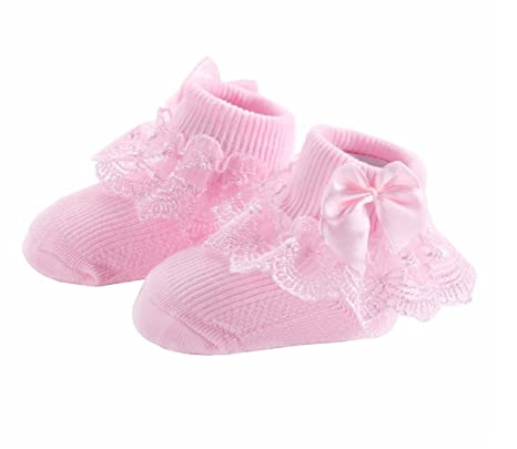 4 Pairs/lot Christening Party Baby Socks For Newborn Girls Solid Color Frilly Princess Calcetines Nina Bow-knot Chaussette Bebe (0-9 months): Clothing