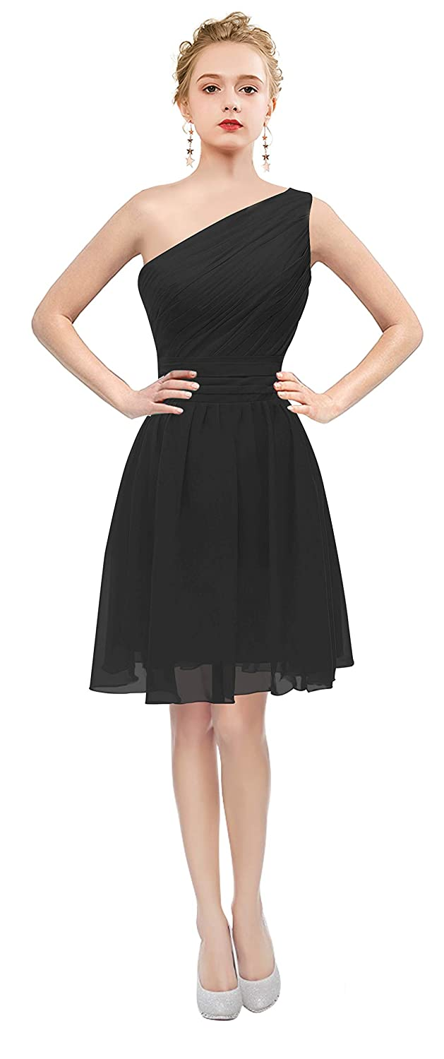 Black One Shoulder Short Dress