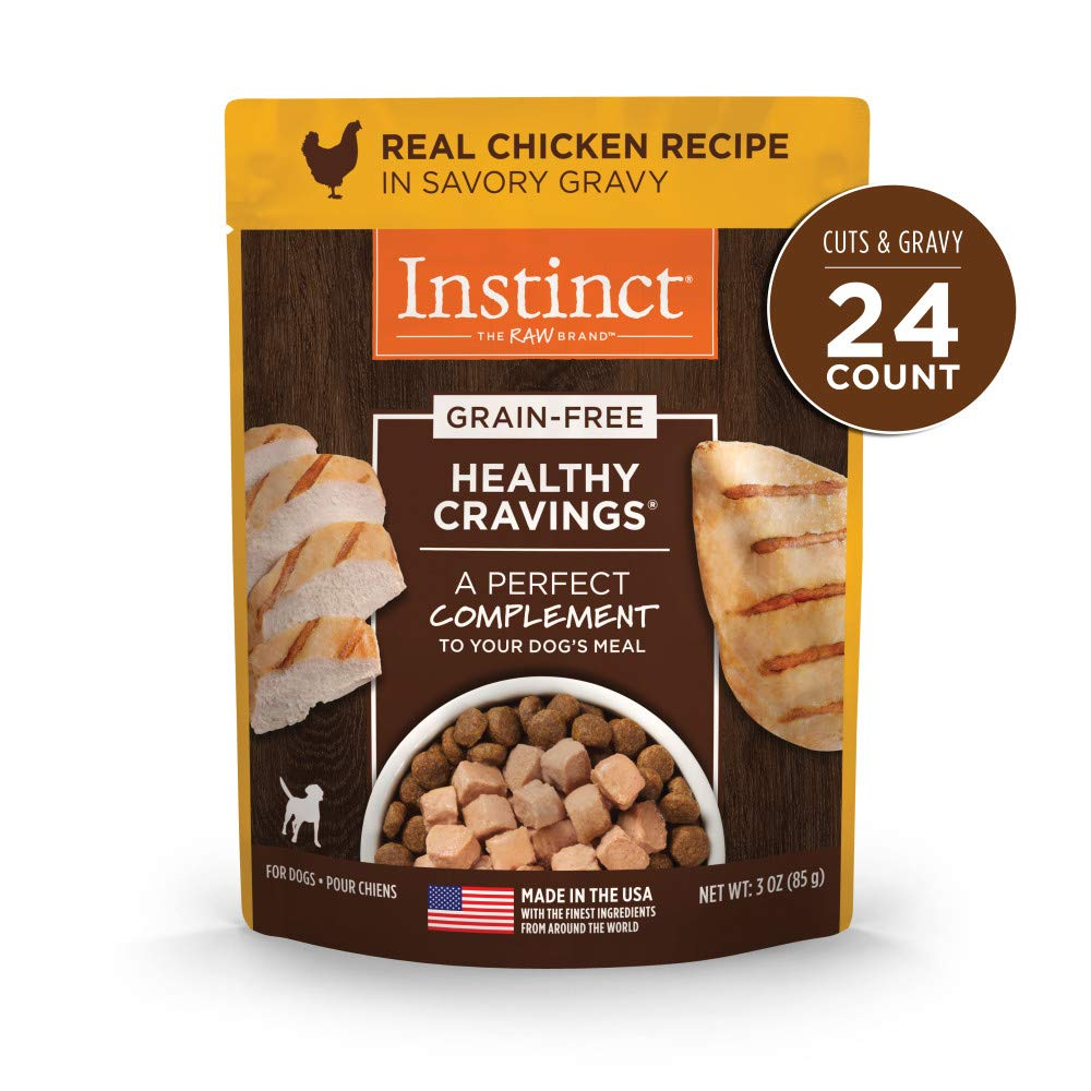 Nature's Variety Instinct Healthy Cravings Grain Free Real Chicken Recipe Natural Wet Dog Food Topper, 3 oz. Pouches (Case of 24) by Instinct