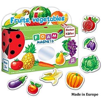 Refrigerator Magnets for kids FRUITS & VEGGIES (32 pcs) - Fridge Magnets for Toddlers activity - Kid magnets - Toddler magnets - Baby Magnets - Food Magnets - Magnetic Shapes - Foam Magnets