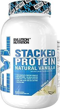 Evlution Nutrition Stacked Protein Natural 907 g de Proteína en Polvo con 25 Gramos de Proteína, 5 Gramos de BCAA y 5 Gramos de Glutamina (Vainilla)
