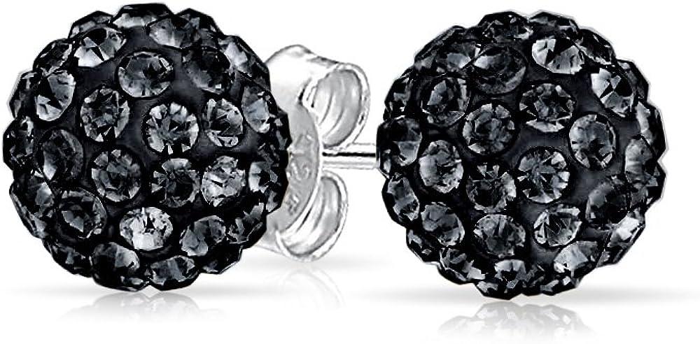 Bling Jewelry Shamballa Inspirado Cristal Pendientes de tuerca plata