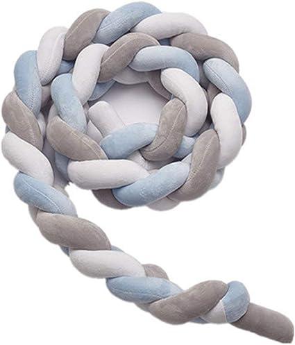 150cm, Gris + blanc + vert Tour de Lit 150CM B/éb/é Coussin Serpent Coussin Tress/é Pare-chocs Velours Protection B/éb/é S/écurit/é 100/% Fait /à Main Doux et Souple