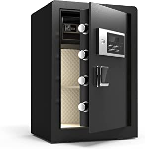 KAER Security Digital Safe Box, Home Safe with Double Safety Key Lock Password Interior Lock Box Led Light, Keypad Cabinet Safe for Cash Jewelry Gun Home Office Hotel - 2.3 Cubic Feet