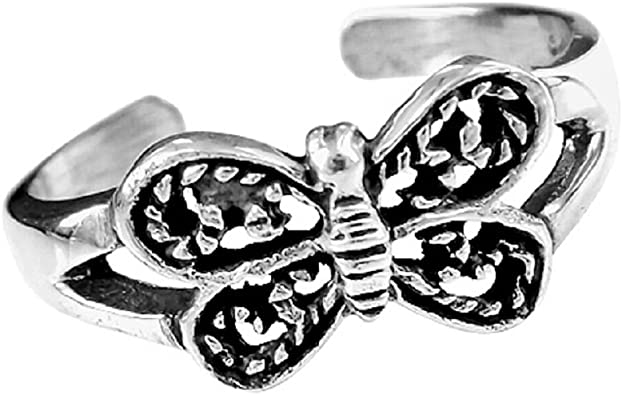 Adorable Detailed Butterfly .925 Sterling Silver Toe Ring or Pinky Ring