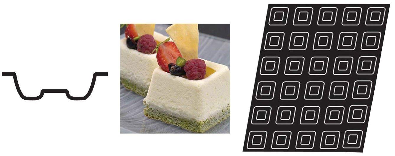 Flexipan 336343 Mini Square Savarin Nonstick Sheet Mold