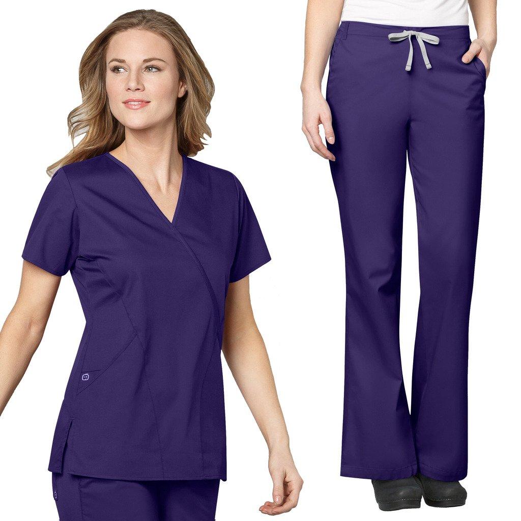 WonderWink Women's Work Scrubs Mock Wrap V-Neck Top & Flare Leg Drawstring Pant Set + FREE GIFT