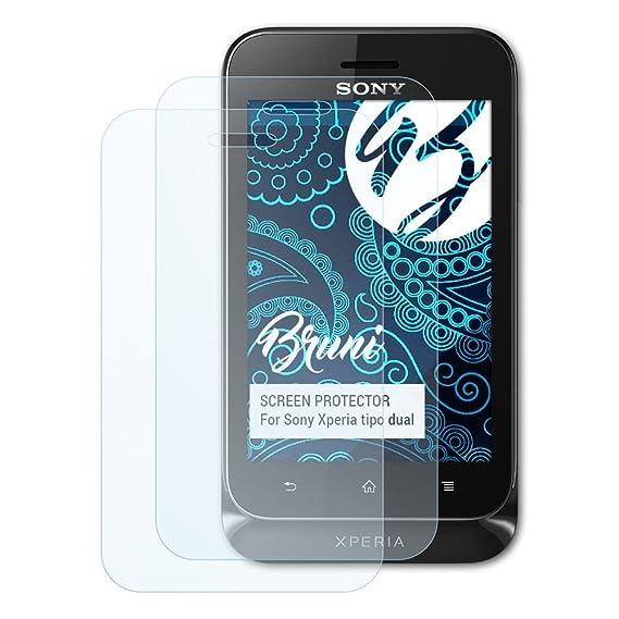 Bruni Schutzfolie für Sony Xperia tipo dual Folie, glasklare Displayschutzfolie (2X)