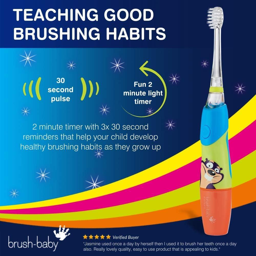 Brush-Baby kidzsonic Spazzolino Elettrico 3-6 Anni-blu-Include 3 Brush