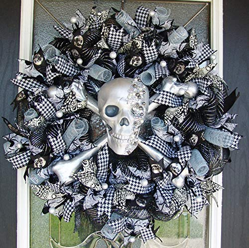 GASPARILLA XL Silver Black White Pirate Skull and Crossbones Front Door Wreath, Halloween Porch or Yard Prop, Gasparilla Festival, Luxury High End Fancy luxe, Handcrafted