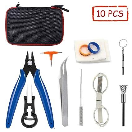 E-Cigarrillo DIY Kit de Herramientas (10 en 1 Kits) para RDA RBA RTA Alicates, Pinzas de Cerámica, Cable de Bobina, Destornillador Juego de ...