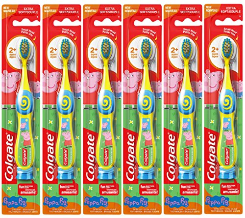 Colgate Peppa Pig Kids Manual Toothbrush with Suction Cup for Little Children Ages 2+, Extra Soft - Pack of 6 (color may vary)