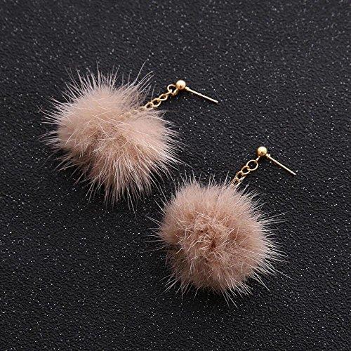 boule boucles d'oreilles Lady de cheveux petite long pendentif Lightpink stud mignonne tempérament oreille pendentif qwwTEPZ