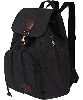 e7126b3c4e Apiidoo Women s Drawstring Leather Backpack Canvas School Bookbag Casual  Daypack