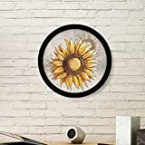 arts sunflower seeds - Sunflower Sunflower Seed Flower Plant Art Painting Picture Photo Wooden Round Frame Home Wall Decor Gift