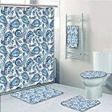 Bathroom 5 Piece Set shower curtain 3d print,Paisley Decor,Mediterrian Themed Design with Water Color Hand Drawn Flowers and Leaves,Blue and White,Bath Mat,Bathroom Carpet Rug,Non-Slip,Bath Towls