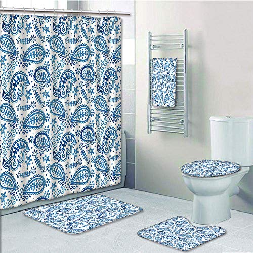 Bathroom 5 Piece Set shower curtain 3d print,Paisley Decor,Mediterrian Themed Design with Water Color Hand Drawn Flowers and Leaves,Blue and White,Bath Mat,Bathroom Carpet Rug,Non-Slip,Bath Towls by iPrint