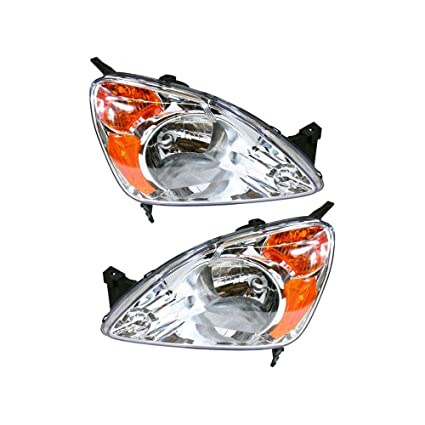 Headlight Set Of 2 for Honda CR-V 02-04 Right and Left Side Lens and  Housing Halogen