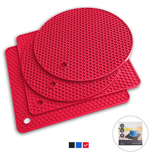 Q's INN Silicone Trivet Mats | Hot Pot Holders | Drying Mat. Our 7 in 1 Multi-Purpose Kitchen Tool is Heat Resistant to 440°F, Non-slip,durable, flexible easy to wash and dry and Contains 4 pcs. by Q's INN