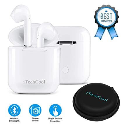 Bluetooth Inalámbricos Auriculares Mini Tamaño En el oido Auriculares con Micrófono y Estación de Carga,
